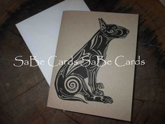 Bull Terrier Card III by SaBeCards on Etsy, $5.00