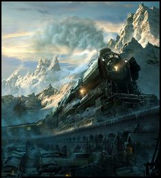 Train Travel in snow mountains: Train Travel in a fantasy world. Train is crossing a snow covered bridge, but something went wrong. Train is trying to stop, but Train Wallpaper, Images Wallpaper, Wallpaper Backgrounds, Forest Wallpaper, Matte Painting, Steampunk, Fantasy Landscape, Fantasy Art, Fantasy Images