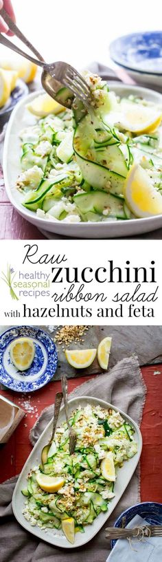 This 15-minute recipe is about as simple as you can get. It is just a simple no-cook zucchini ribbon salad made with a vegetable peeler and a few basic ingredients including zucchini, hazelnuts and feta cheese! Add a sprinkle of salt, olive oil and lemon and you're good to go! @healthyseasonal