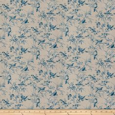 French General Aviary Toile Linen Blend Vintage Bleu from @fabricdotcom  This heavyweight 55% Linen, 45% Rayon content fabric is perfect for window treatments (draperies, valances, curtains and swags), toss pillows, duvet covers and upholstery.