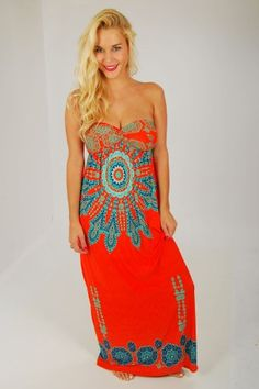 Desert Sun Strapless Maxi Dress in Coral | Boutique Clothing | JC's Boutique
