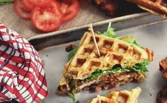 Chicken & Waffle Sandwiches with Bacon, Cheddar & Green Onion | HFM | Houston Family Magazine