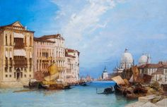 William Callow - The Grand Canal with Santa Maria Della Salute ,Venice - estimated at Featured in our Old Masters, British & European Paintings auction on Sep Artwork Images, European Paintings, Grand Canal, Old Master, Santa Maria, Venice, Oil On Canvas, Old Things, British