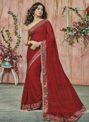 Red Color Wrinkle Chiffon Party Wear Sarees : Sukanya Collection  YF-40503