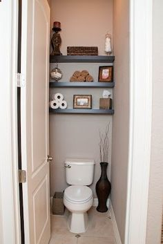 Bathroom Make Over: Shelves above toilet....want/need to do this in kids bathroom
