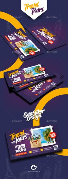 Travel Tours Business Card Templates — Photoshop PSD #jellyfish #swimming • Download ➝ https://graphicriver.net/item/travel-tours-business-card-templates/19636629?ref=pxcr