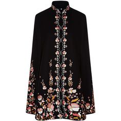 Vilshenko Black Wool Floral Embroidered Erin Cape ($1,480) ❤ liked on Polyvore featuring outerwear, coats, jackets, cape, mandarin collar coat, cape coat, woolen cape, wool cape and wool cape coat