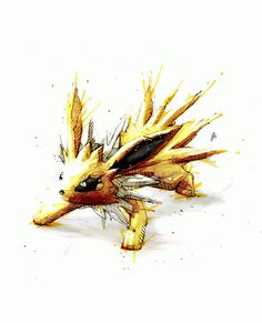 10 watercolor Pokemon illustrations by Jeremy Kyle - Jolteon