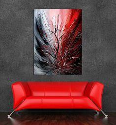 Art abstrait peinture abstrait rouge LARGE par largeartwork sur Etsy