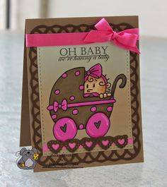 Girl Birth Announcement featuring Bugaboo Stamps Boo Peeker Carriage.