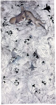 shahzia sikander. prey, 2002.  graphite, ink and tea on paper.