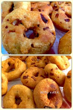 Medu vada is an Indian fritter made from Black lentils (urad dal). It is usually made in doughnut-shape, with a crispy exterior and soft interior. Indian Food Recipes, Vegan Recipes, Black Lentils, Breakfast Snacks, Fritters, Bagel, Doughnut, Vegetarian, Exterior