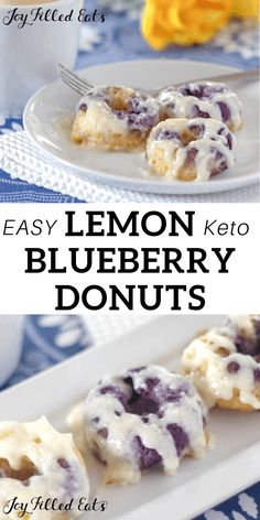 Keto Blueberry Donuts with Cream Cheese Glaze - Low Carb, Grain-Free, Gluten-Free, Sugar-Free, THM S - My Warm Lemon Blueberry Donuts with Cream Cheese Glaze are amazing. When you warm them up the icing melts down the sides. Gourmet Recipes, Low Carb Recipes, Dessert Recipes, Recipes Dinner, Bread Recipes, Soup Recipes, Snacks Recipes, Low Calorie Breakfast, Breakfast Recipes