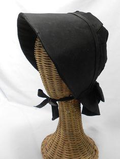 Antique Black Bonnet Hat 1875 1900 Circa Church of Brethren Mourning Bonnet
