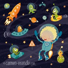 Weltall - Cute Space Scene with rocket, alien, and an astonaut kid