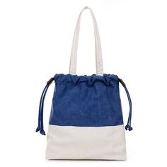Women Canvas Drawstring Tote Bags Casual Contrast Color Shoulder Ping D 8217