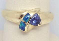 14KT YELLOW GOLD INLAY OPAL AND TANZANITE RING SIZE 6