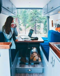 This campervan layout makes for the perfect workspace. I could be a #vanlife digital nomad in this vehicle! I love all of the cool ideas and hacks in this article.