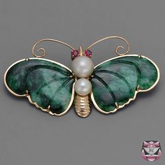 Vintage Jade Butterfly Pin