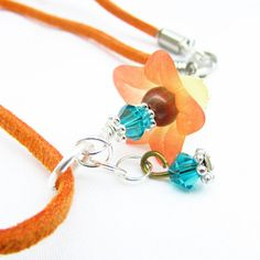 Orange Suede Necklace Lily Flower Necklace by EarthlieTreasures, $20.99