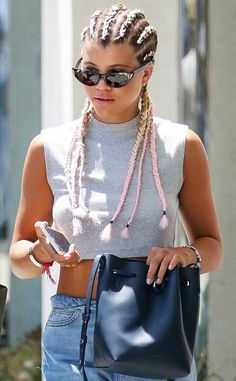 Sofia Richie from Celeb Braids You'll Want to Copy  If you're bored of your everyday braids, liven them up with a little pastel pink color, like Nicole Richie's little sis.