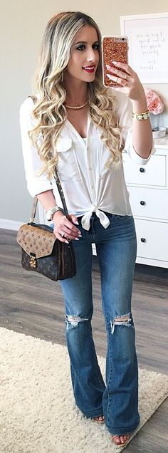 #spring #outfits /  White Shirt / Brown Shoulder Bag / Ripped Wide Denim