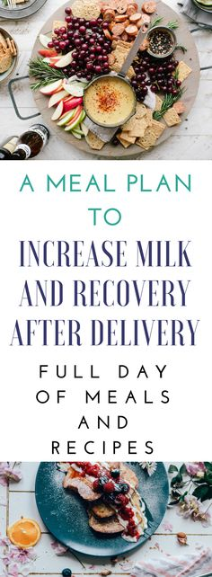 This is a meal plan for your first day after delivery. These meals are specifically chosen because the foods promote healing and milk supply!