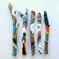 Items similar to Painted Sticks /// Spirit Sticks on Etsy - Dekoration Ideen Spirit Sticks, Painted Driftwood, Driftwood Crafts, Painted Wood, Painted Branches, Driftwood Ideas, Painted Pebbles, Diy And Crafts, Crafts For Kids