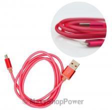 CAVO DATI FILO DI RICARICA USB 8-PIN METALLICO 1 METRO UNIVERSALE LIGHTNING APPLE IPHONE IPAD RED ROSSO - SU WWW.MAXYSHOPPOWER.COM