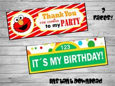 Elmo bag toppers- DIY birthday bags - Birthday Labels -  Elmo Party-Bag toppers- Printable Elmo bag topper -Printable labels by Chumelito on Etsy