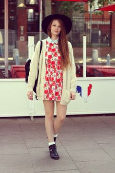Get this look (dress, sweater, bootie) http://kalei.do/X3EXksAQqBSXuzZv