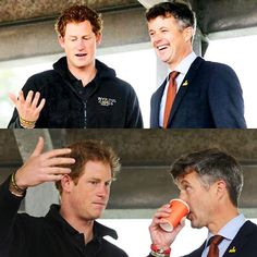 HRH Prince Harry of Wales speaks to HRH Crown Prince Frederik of Denmark during…