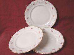 Walbrzych, China Dinnerware Pattern #8259 Pink rose set 3 salad plate
