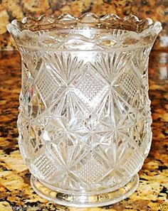 SMALL VINTAGE EAPG GLASS SPOONER VASE FOOTED ANTIQUE