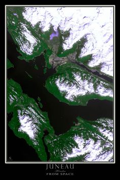 Juneau Alaska Satellite Poster Map