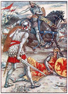 Walter Crane - Sir Lancelot forbids Sir Bors to slay the king - King Arthur's Knights - 1911.
