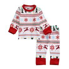 Baby Kids Boys Girls Christmas Snowflake Outfit Sets Babies Kid Boy Girl Snow Sleepwear Nightwear Pajamas Pyjamas Xmas Pjs Set(China (Mainland))