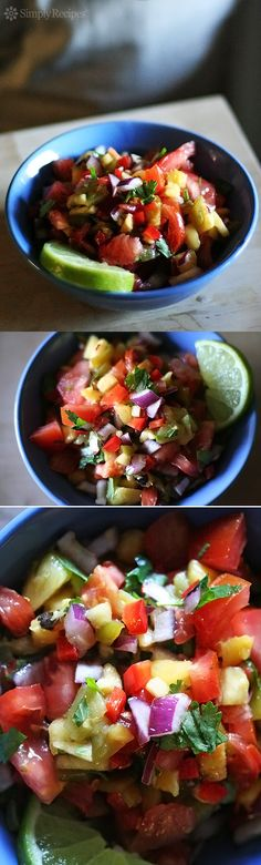 Pineapple Tomato Salsa ~ Fresh pineapple tomato salsa! Great with fish tacos or grilled steak. ~ SimplyRecipes.com