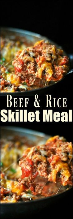 Your family will LOVE this one pot meal! This entire Beef & Rice Skillet Meal is on the table in under 20 minutes.  One of our all time favorite weeknight recipes.  This makes skipping the drive-thru SO much easier, even on the busiest nights!