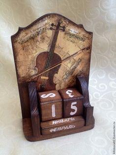 """Календари ручной работы. Ярмарка Мастеров - ручная работа Вечный календарь """"старая скрипка"""". Handmade."""