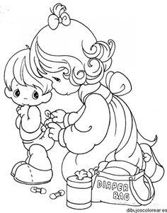 Dibujo de un niño y su madre