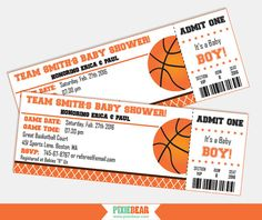 Basketball Baby Shower Invitation Printables by PixieBearParty on Etsy…
