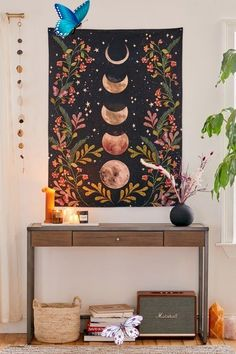 moon phase small wall tapestry love the antique colors in this wall tapestry.<br> Home Yoga Room, Zen Room, Yoga Room Design, Urban Outfitters, How To Distress Wood, Floral Motif, Interiores Design, Boho Decor, Wall Tapestry