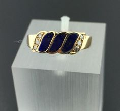 Lady's vintage 14k yellow gold genuine Lapis and diamond ring in Jewelry & Watches, Vintage & Antique Jewelry, Fine | eBay