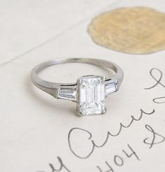 Vintage Emerald Cut Diamond Engagment Ring