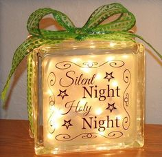 Silent Night! Holy Night! This will make you want to sing the precious songs of Christmas! This glass block is the perfect addition to your