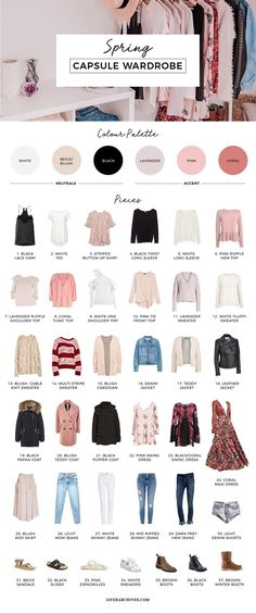 Fashion infographic : My 18 Spring Capsule Wardrobe Capsule Wardrobe Mom, Capsule Outfits, Fashion Capsule, Fashion Outfits, Womens Fashion, Fashion Tips, Fashion Clothes, Mom Wardrobe, Build A Wardrobe