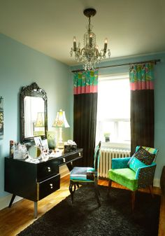 A colourful home office from designer Jane Hall's home. We love the mixing of pieces from different eras.