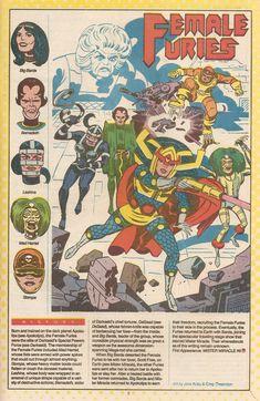 Female Furies-Darkseid personal bodyguards and shock troops Dc Comics Superheroes, Dc Comics Characters, Batman Comics, Female Furies, Jack Kirby Art, Marvel E Dc, Deadpool, New Gods, Comics Universe