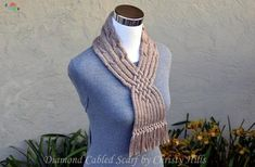 Ravelry: Diamond Cabled Scarf pattern by Christy Hills Cable Needle, Yarn Needle, Knitting Yarn, Knitting Patterns, Provisional Cast On, Quick Knits, Purl Stitch, Scarf, Stitch Markers